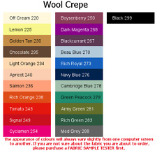 100% Wool Crepe (4x5cm sample colour testers & per metre purchasing)