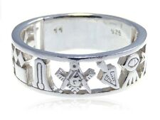 Sterling Silver Masonic Band Ring & Gift Box