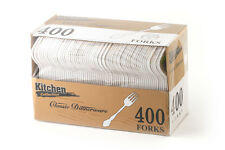 MED WEIGHT DISPOSABLE WHITE CUTLERY SPOONS KNIVES FORKS 400ct KITCHEN COLLECTION
