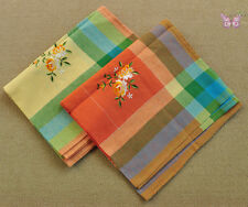 """Country Cotton colorful checked yarn-dyed embroidered large tablecloth 54X72"""""""