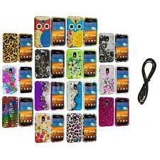 Design Hard Rubberized Cover Case+6FT Aux for Samsung Sprint Galaxy S2 S II
