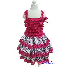 Girls Gorgeous Hot Pink Lace Lavender Leopard Layered Party Dress Pettidress