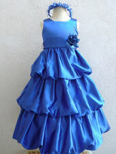 Royal blue davids satin bubble wedding party flower girl dress size 2 4 6 8 10