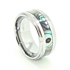 10mm Tungsten Carbide Abalone Shell Inlay Wedding Ring Sizes 7-16.5