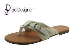 NEW Womens Summer Shoes Sandals Casual Flip Flops Slipper Strap White Beige CUTE