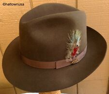 "NEW Men's STETSON FUR FELT Dark Brown Fedora Formal Dress Hat ""Greenwich"" Soft"
