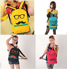 Fashion men women lady Mustache Canvas eyeball School Book Campus Bag Backpack