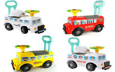 NEW Ride On Baby Walker Car Musical Push Along Fire Engine Bus Police Ambulance
