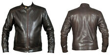 Mens Brown Leather Jacket Fashion 4XL