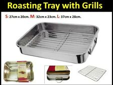 STAINLESS STEEL ROASTING TRAY OVEN PAN DISH BAKING HEALTHY ROASTER  GRILL RACK