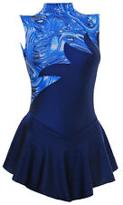 Skating Dress - NAVY LYCRA / MULTI BLUE HOLOGRAM- ALL SIZES AVAILABLE