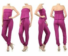 Women Comfy Sexy Slim Bodycon Tight Tube Top STRAPLESS SMOCKED JUMPSUIT Romper