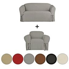2 PIECE MICRO-SUEDE FURNITURE SLIPCOVER SOFA & LOVESEAT COUCH COVERS