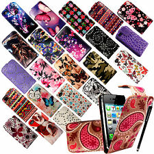 FOR APPLE IPHONE 4 4G 4S VARIOUS NEW PU LEATHER MAGNETIC FLIP CASE COVER+ STYLUS