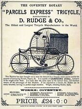 ADVERT RUDGE TRICYCLE VINTAGE BIKE COVENTRY UK POSTER ART PRINT PICTURE