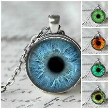 25mm~Creature/Human Glass Eye Cameo Cabochon Photo Pendant Silver Plated