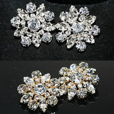 Lot of 4 Marquise Rhinestone Crystal Silver/Gold Tone Floral Shank Buttons DIY