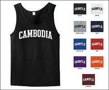 Country of Cambodia College Letter Tank Top Jersey T-shirt