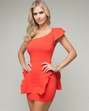 New Junior's Sexy Papaya One Shoulder Fitted Peplum Fashion Trendy Dress