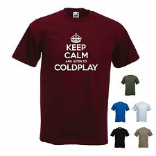 'Keep Calm and Listen to Coldplay' Chris Martin Music T-shirt Tee