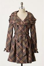 New Anthropologie Puckered Plaid Trench Size 2-4-8