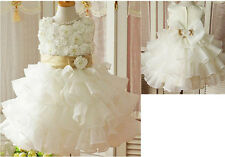 IVORY FLOWER GIRL DRESS BUTTERFLY LAYERED WEDDING BRIDESMAID SKIRTS AGE 3-9 YRS