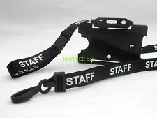 BLACK STAFF LANYARD with optional black or clear ID card holder - neck strap