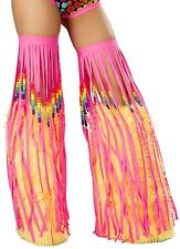UV Rainbow Beaded Fringe Leg Warmer in Black, White or Hot Pink Rainbow Rave