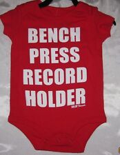 BENCH PRESS RECORD  HOLDER Solid Threads  One Piece Jumper Romper Baby Snap Suit