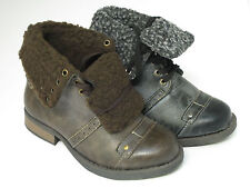 Childrens Boots N2014 Brown or Black Fleece Lined Lace Up Ankle Boots