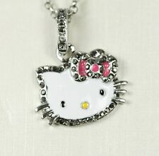 New Hello Kitty Silver Pendant Pink Purple Red Crystal Rhinestone Necklace 25""