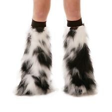 Luminous Fluffy Furry Rave Boot Cover Leg Warmers With Black Knee Bands