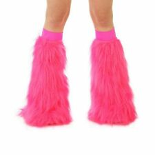 Hot Pink Rave Gogo Dancer Boot Cover Leg Warmer Fluffies w/ Hot Pink Bands