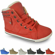 WOMENS LADIES GIRLS FLAT LACE UP SPORTS HI TOP FUR BOOTS TRAINERS SHOES SIZE3-8