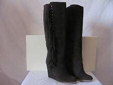 New COACH Womens Chestnut Brown Dollie Suede Leather Fashion Wedge Boots $368