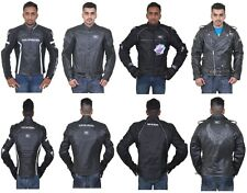 Mens Leather Motorbike Motorcycle Large Jacket Racing Protective Cordura CE