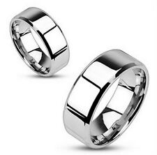 Stainless Steel Mirror Polished Flat Band with Beveled Edge Ring 8mm size 9 - 14