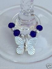 10x Butterfly Wine Glass Charms with Crystal beads Weddings Parties Reception