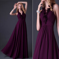 Halter Bridesmaid Formal Gowns Prom Party Evening Cocktail Long Dresses In Stock