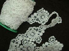 BEADED FAUX PEARL WEDDING SEQUIN EMBROIDERY APPLIQUE FRENCH LACE TRIM - 1 YARD