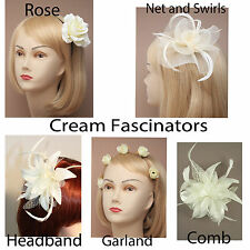 Cream Fascinator Formal Hats Flower Headband Comb Garland Wedding Party Prom