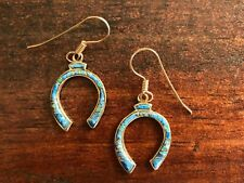 Horseshoe Earrings | Bronze Semiprecious Stone | Drop/Dangle Hook | Made in USA
