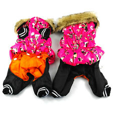 New Warm Dog Padded Clothes Winter Puppy Pet Jumpsuit Outfit Faux Fur Collar