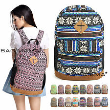 UK RETRO UNISEX BAG VINTAGE WOMENS SATCHEL MENS RUCKSACK LADIES CANVAS BACKPACK