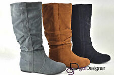 NEW Womens Knee High Mid Calf Slouch Boots Shoes Round Toe Comfort Casual Flat