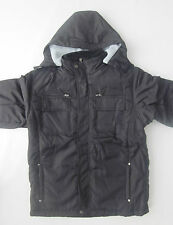 Lion Force Boy's Jacket Coat zip-off hood fleece lined GREY, BLACK Sizes 8-20