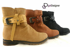 NEW Womens Casual Ankle Boots Military Combat Boots Shoes Fashion Flat Strap