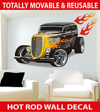 Hot Rod Car with Flames Wall Sticker - TOTALLY MOVABLE