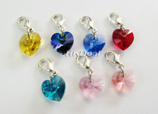 Swarovski 6228 10mm Crystal Heart Pendant Charm Bead With Lobster Clasp P672