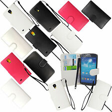 BOOK STYLE CARD HOLDER FLIP CASE COVER FOR SAMSUNG GALAXY S4 ACTIVE i9295+STYLUS